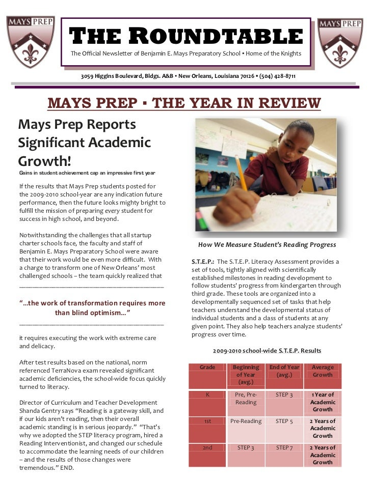 THE ROUNDTABLE                     The Official Newsletter of Benjamin E. Mays Preparatory School ▪ Home of the Knights   ...