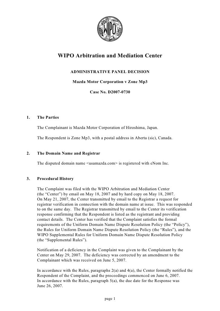 WIPO Arbitration and Mediation Center                         ADMINISTRATIVE PANEL DECISION                           Mazd...