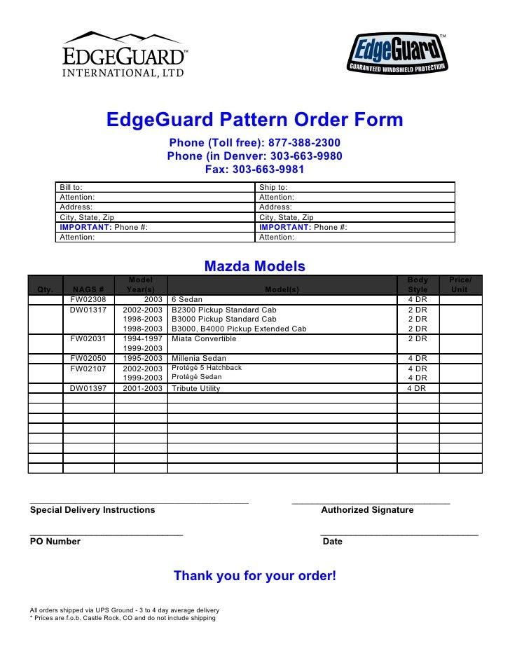 EdgeGuard Pattern Order Form                                              Phone (Toll free): 877-388-2300                 ...