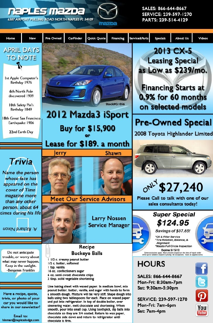 Naples Mazda April Newsletter
