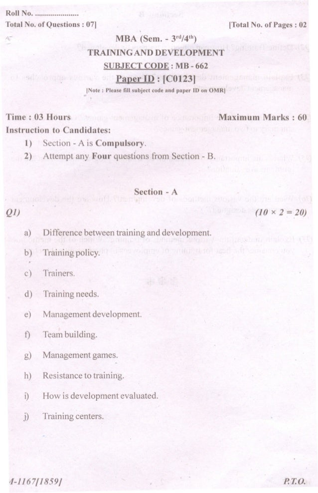 Roll No. ...................... Total No. of Questions: 07J A-  [Total No. of Pages: 02  MBA (Sem. TRAINING  - 3rd/4th)  A...