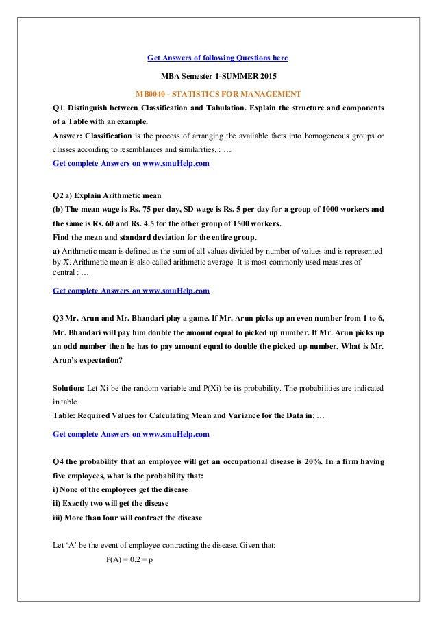 mb0040 statistics for management 4 Re: smu mba mb0040 wasimsiddiqui 03 @gmailcom mba semester 1 mb0040 – statistics for management- 4 credits (book id: b1129.