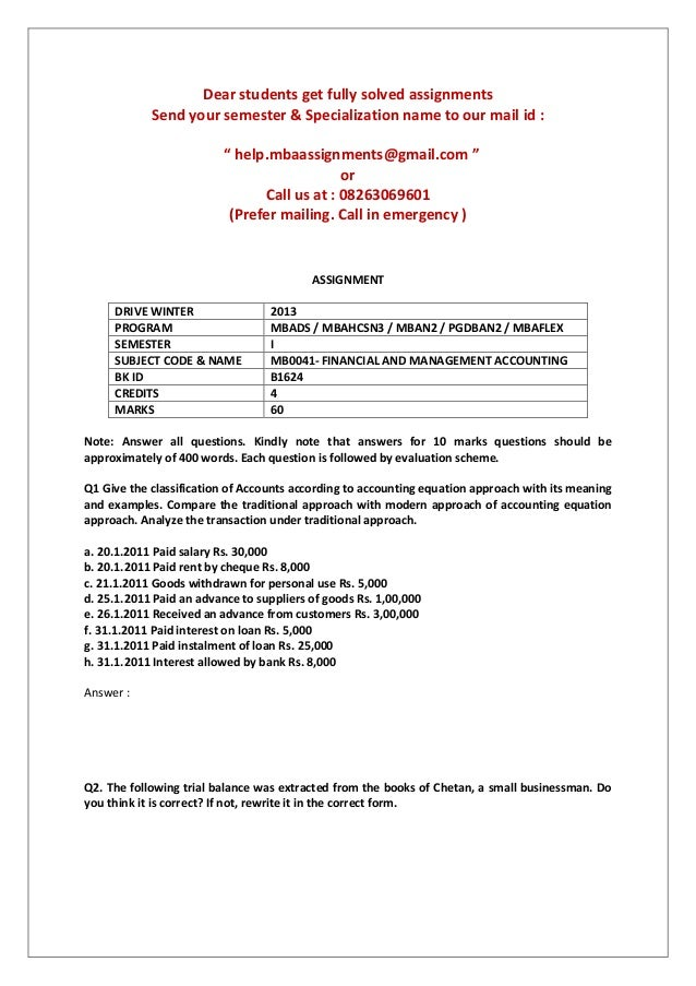 financial and management accounting smu assignment answers 2013 Mb0041- financial and management accounting smu mca winter 2013 assignments mb0041 financial and management accounting – winter 2013.