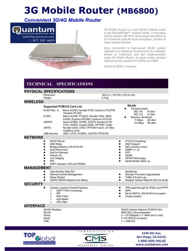 Top Global 3G/4G Mobile Wireless Router (MB6800) (Quantum-Wireless.com)