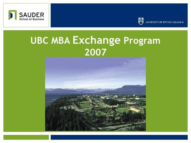 MBA Exchange - Sauder School of Business, UBC