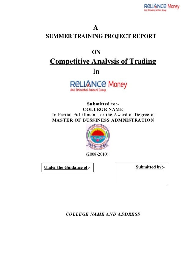 mba finance thesis reports