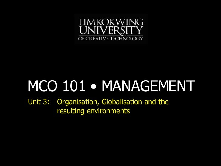 Unit 3: Organisation, Globalisation and the resulting environments