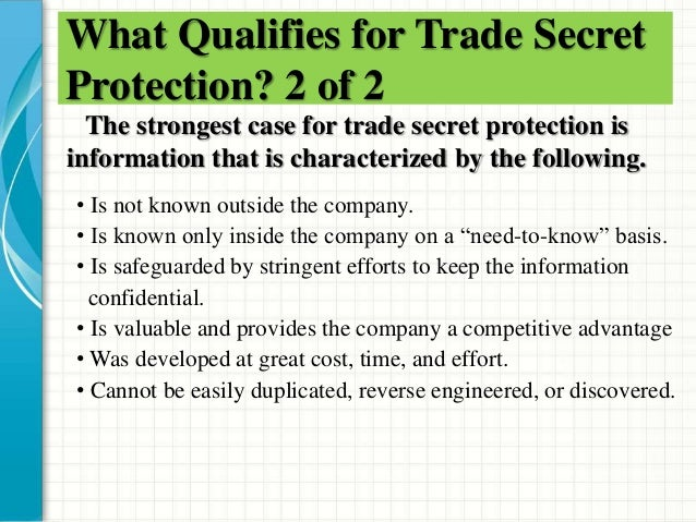 an analysis of trade secrets and confidentiality Liability for confidential disclosure of a trade secret to the government  see  david s almeling et al, a statistical analysis of trade secret.