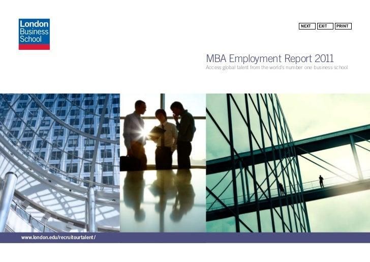 Next    exit    PriNt                                   MBA Employment Report 2011                                   Acces...
