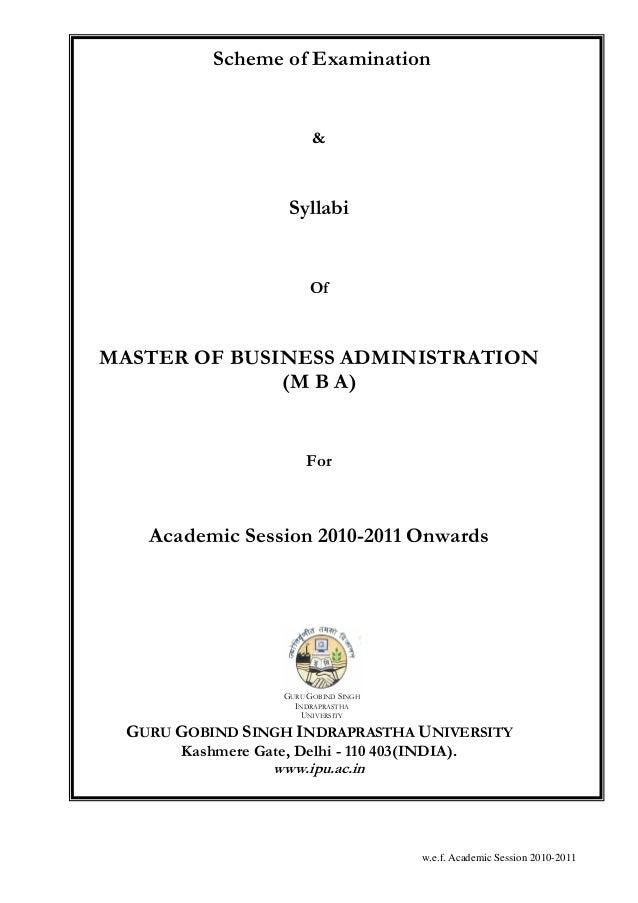 Scheme of Examination                          &                     Syllabi                         OfMASTER OF BUSINESS ...