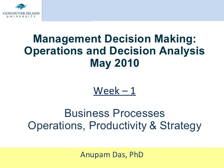 Management Decision Making: Operations and Decision Analysis May 2010 Week – 1 Business Processes Operations, Productivity...