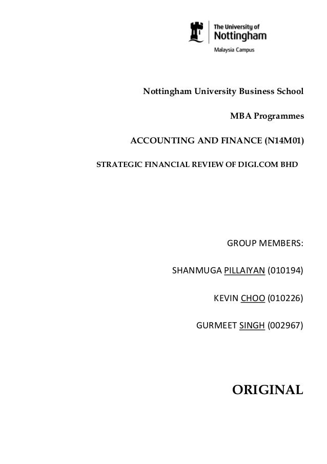 Nottingham University Business School MBA Programmes ACCOUNTING AND FINANCE (N14M01) STRATEGIC FINANCIAL REVIEW OF DIGI.CO...