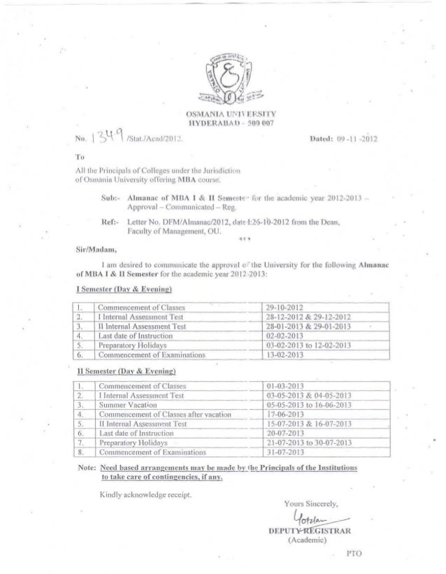 OSMANIA UNIVERSITY                                   HYDERABAD - 500 007No.      H 1 /Stat./Acad/2012.                    ...