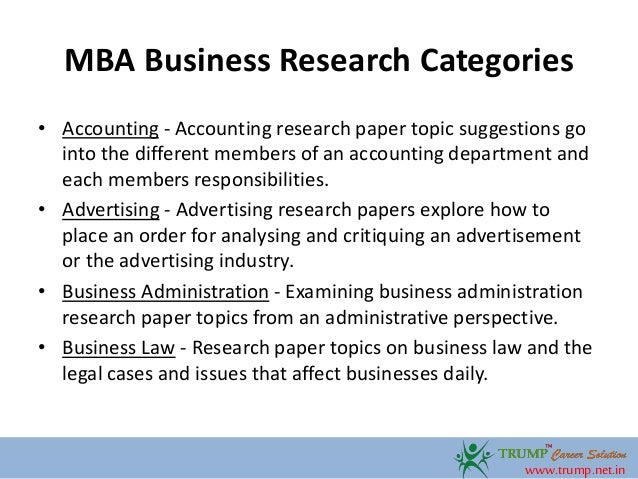 subjects of the study mba thesis papers