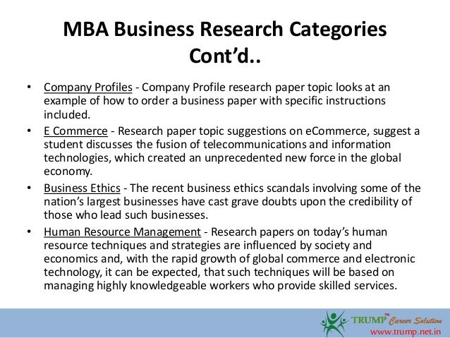 Topics for research paper about business