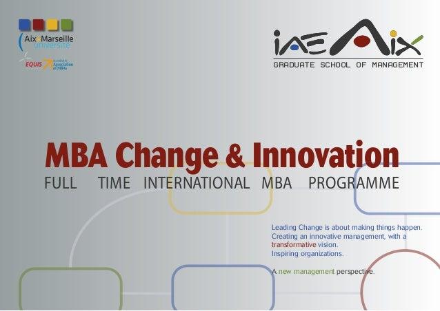 Mba change innovation