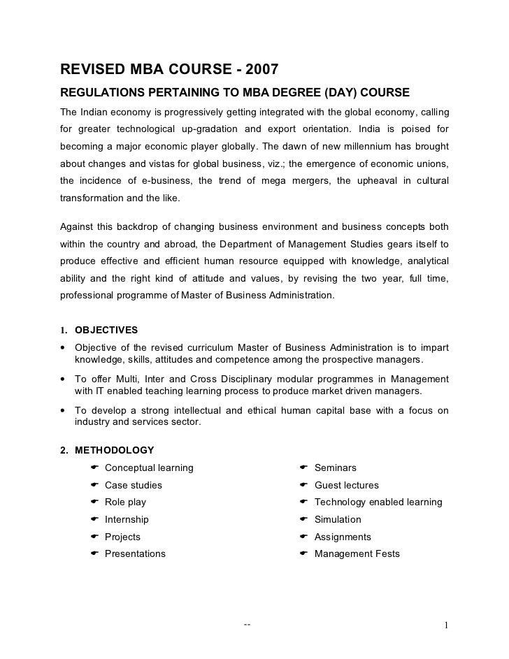 Mba course (revised scheme)   2007 day scheme