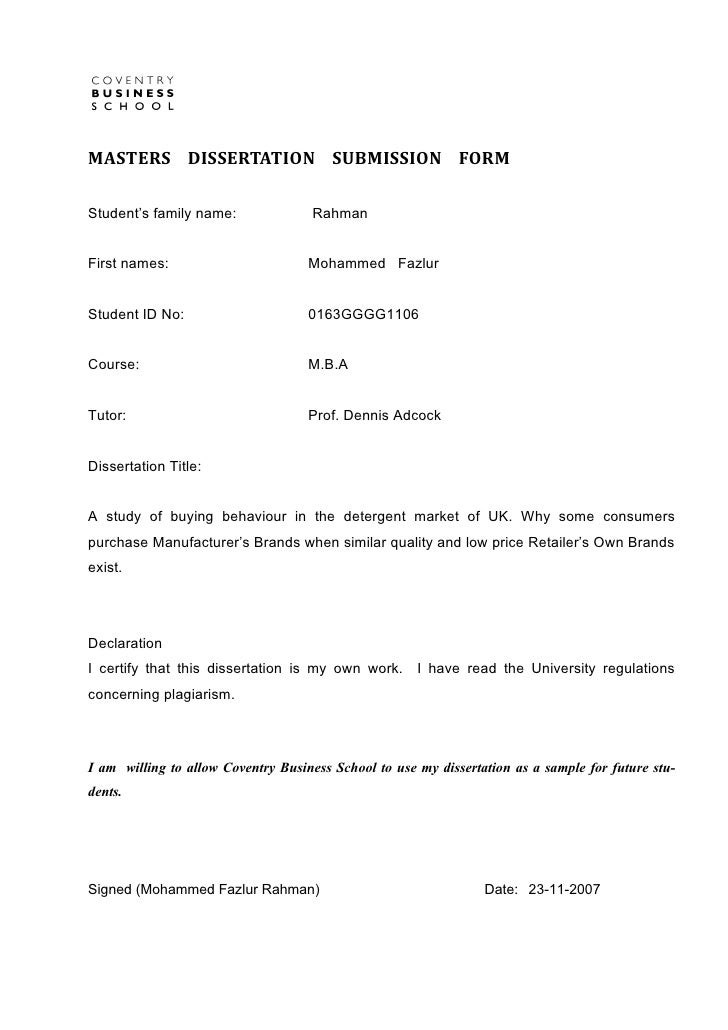 MASTERS DISSERTATION SUBMISSION FORMStudent's family name:               RahmanFirst names:                        Mohamme...