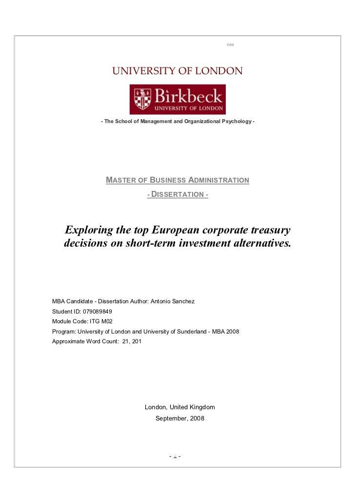 Dissertation banking investment