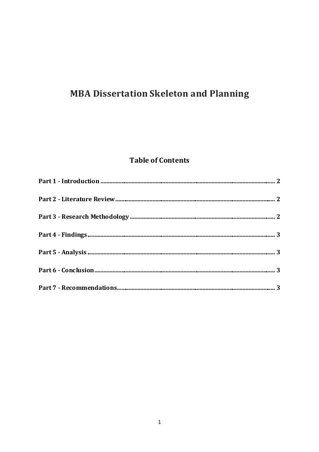 Cover Page For Mba Dissertation