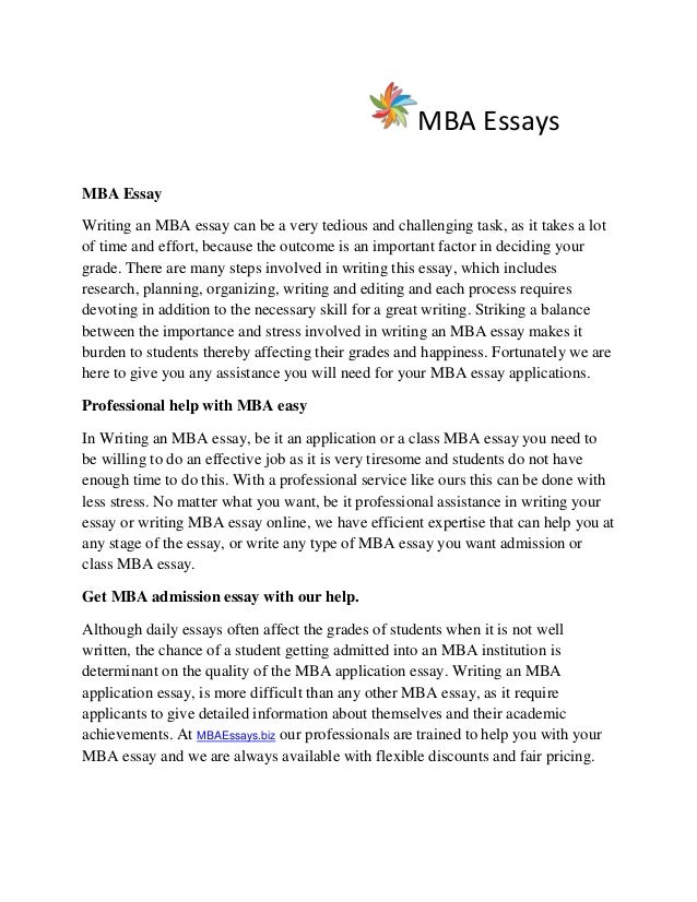 mba application essay help The essay portion of the goizueta full-time mba application process is your time to shine our admissions team is here to help by offering helpful tips and insight.
