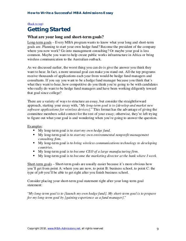 long term goals after mba Acing the mba career goals essay requires you to persuade the mba admissions committees that you have outstanding potential in this case, we will define potential as a collection of strengths fueled by passion and directed by purpose toward a defined set of career goals.