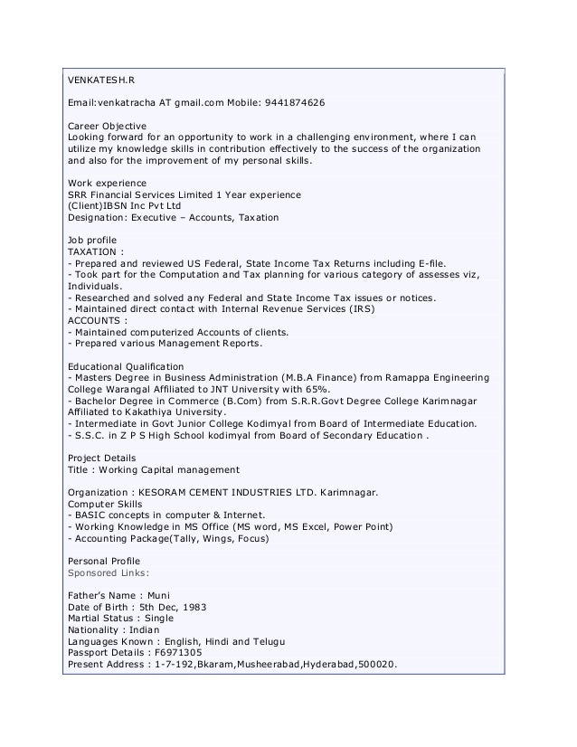 Resume for freshers in mba finance