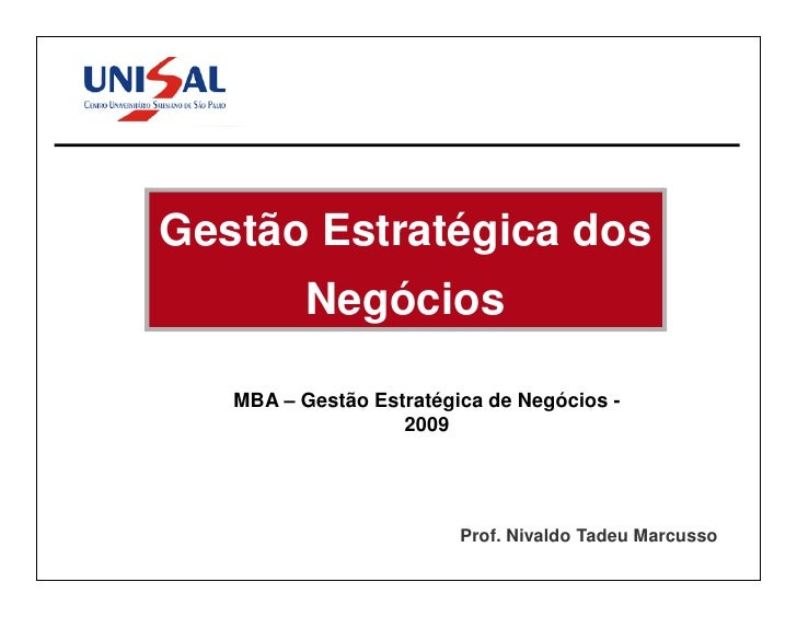 MBA Gestão de Negócios IV