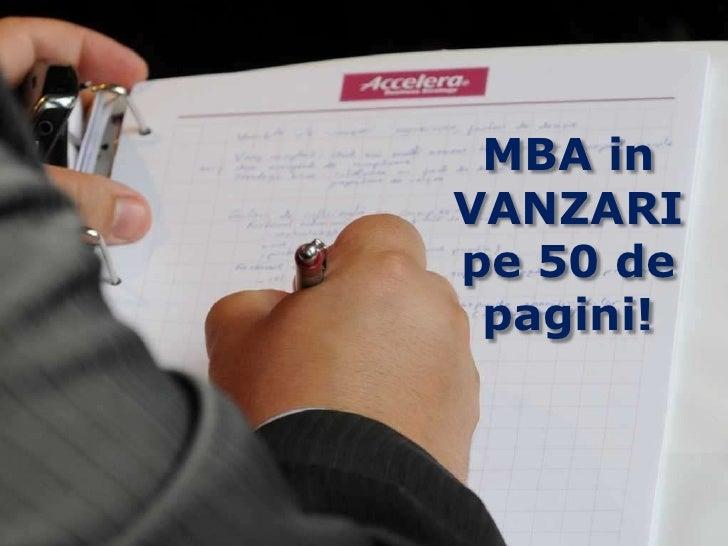 MBA in VANZARI<br />pe 50 de pagini!<br />