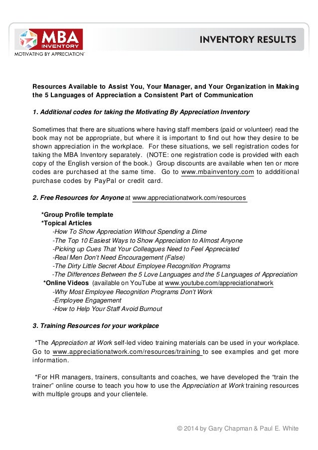 mba managing by appreciation inventory results 2014