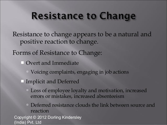 risistance to change Resistance to change randall k ward mgt-426 august 27, 2013 barbi brokhoff resistance to change this week we will look at resistance to change and what can be done to combat the resistance while still maintaining people's ideas and individualism.