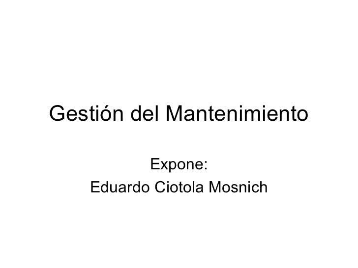Mba iv gestión del mantenimiento