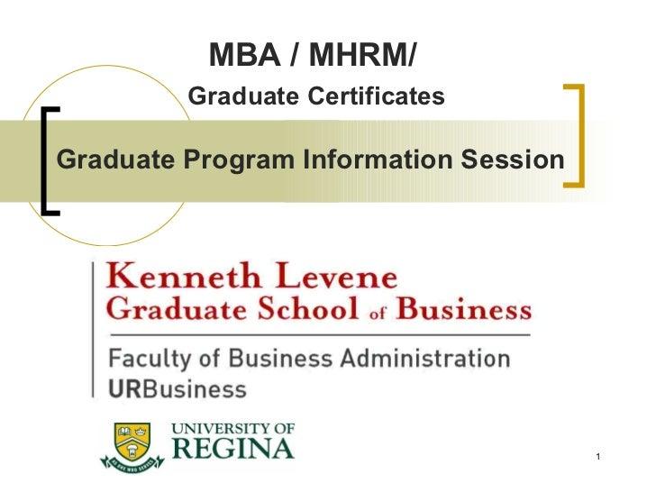 Graduate Program Information Session MBA / MHRM/  Graduate Certificates