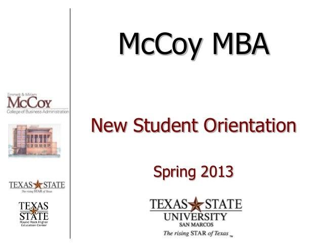 McCoy MBA Orientation - Spring 2013