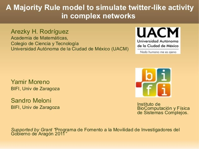 A Majority Rule model to simulate twitter-like activity in complex networks Arezky H. Rodríguez Academia de Matemáticas, C...