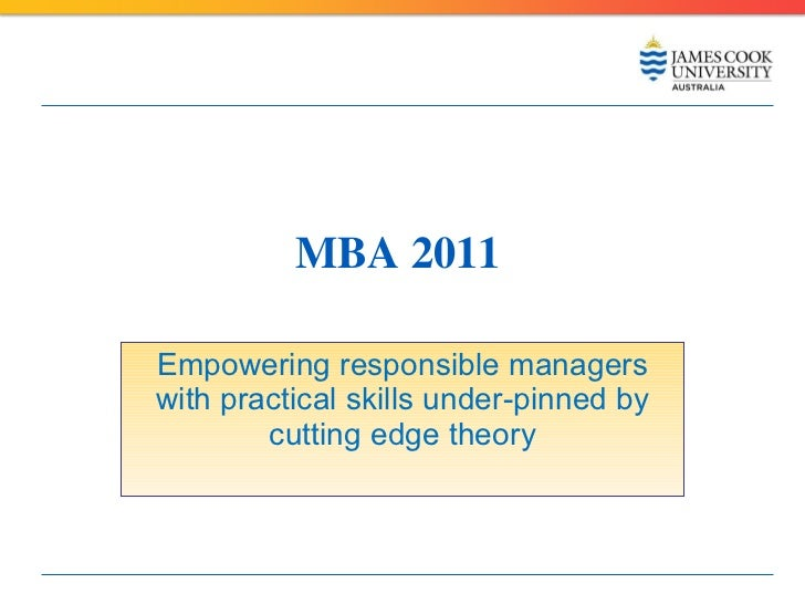 Master Business Administration James Cook University 2011