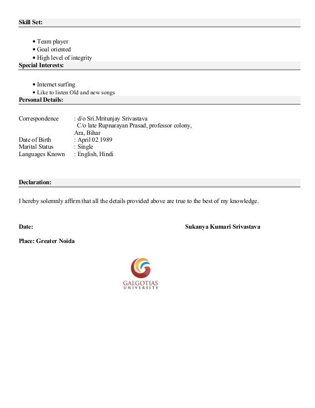 Resume format of mba student