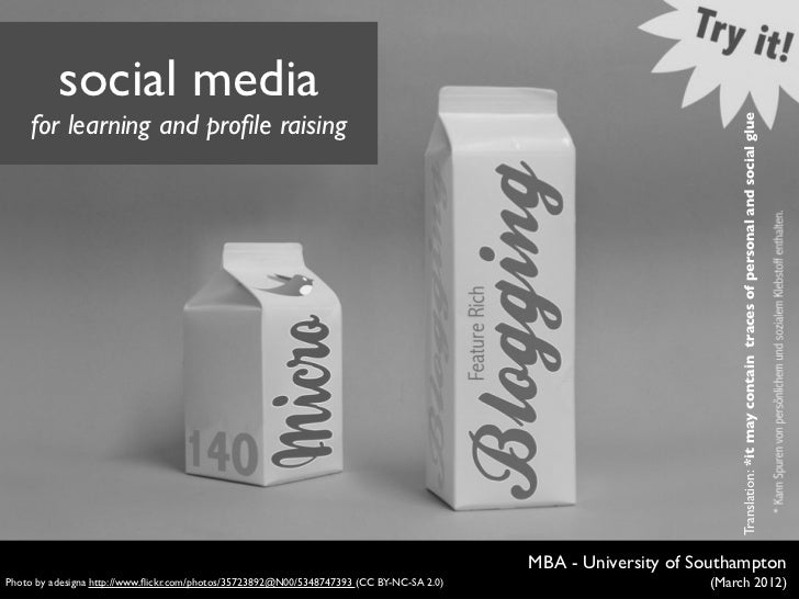 Social media for learning and profile raising