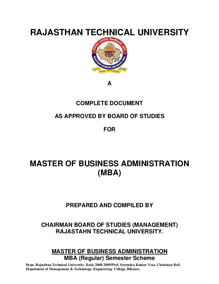 Mba syllabus subject to approval of academic council