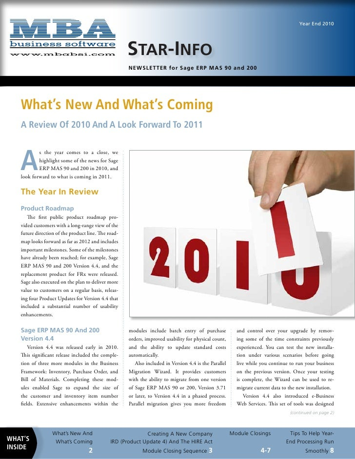 Year End Newsletter from MBA