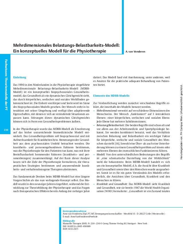 Einleitung Das 1990 in den Niederlanden in die Physiotherapie eingeführte Mehrdimensionale Belastungs-Belastbarkeits-Model...