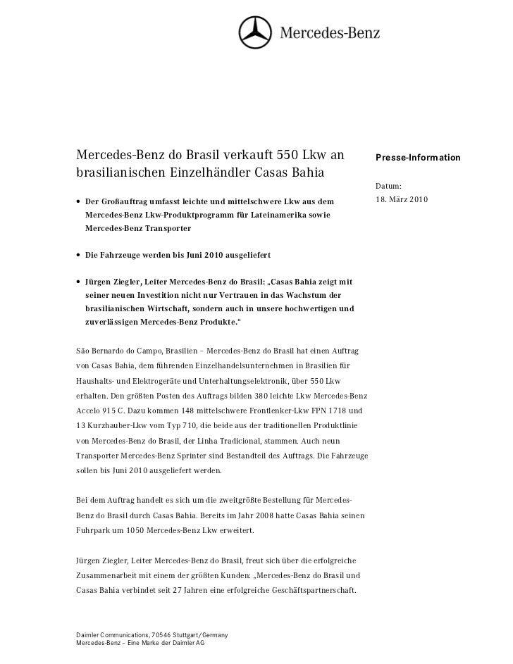 Mercedes-Benz do Brasil verkauft 550 Lkw an                                        Presse-Informationbrasilianischen Einze...