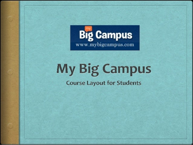 Welcome Students! The following slides introduce  the layout of a course's  homepage on MyBigCampus. The major sections ...