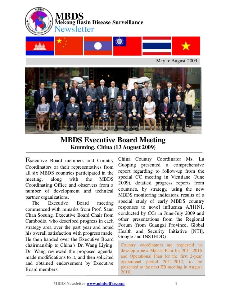 MBDS Newsletter May to August 2009