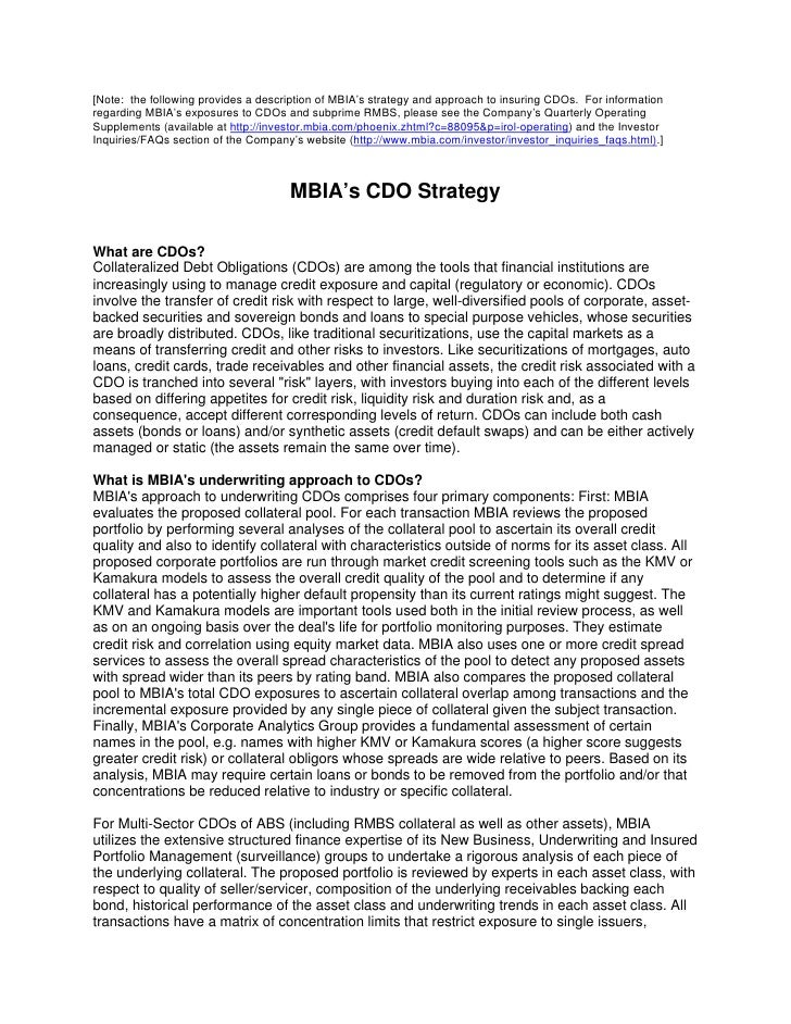MBIA's CDO Strategy
