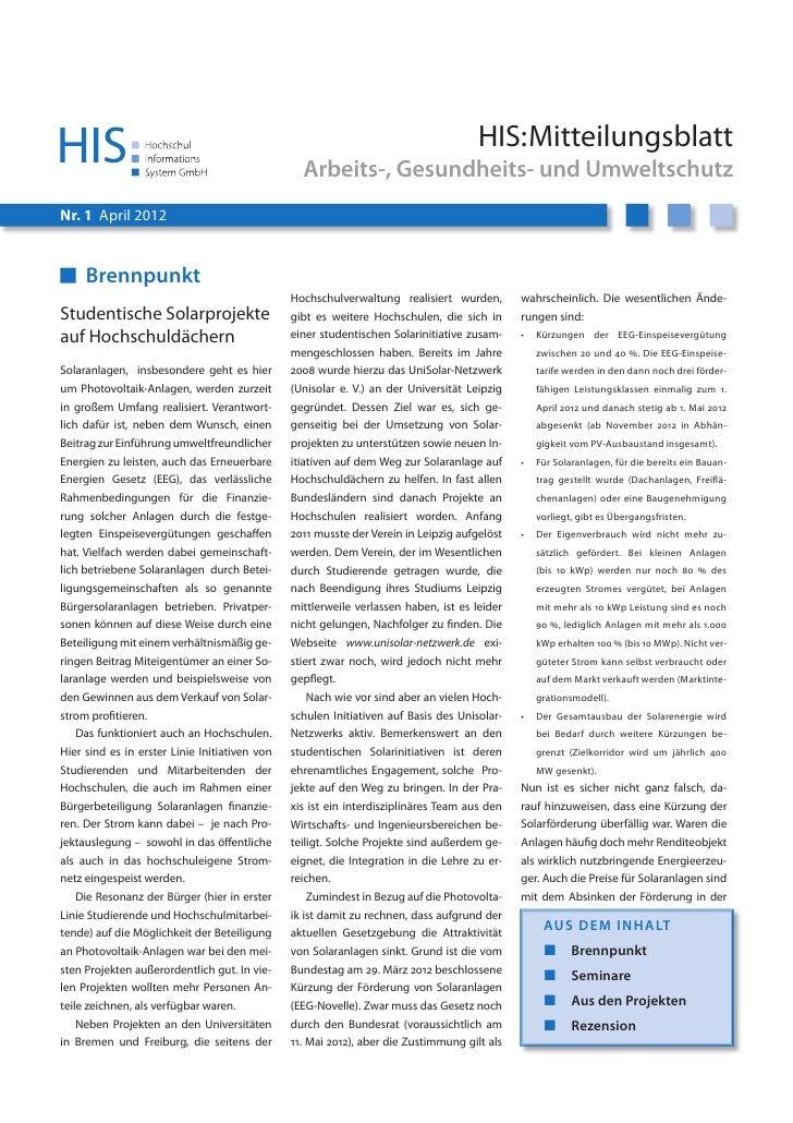 HIS:Mitteilungsblatt                                                 Arbeits-, Gesundheits- und UmweltschutzNr. 1 April 20...