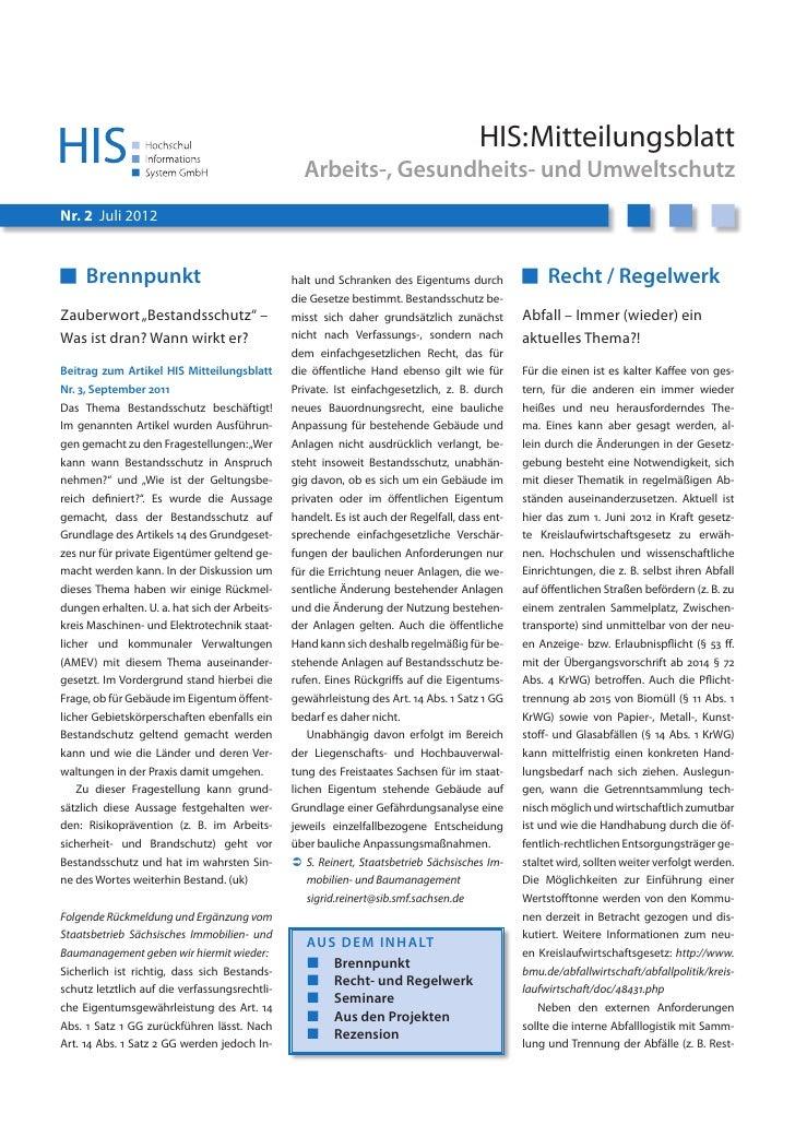 HIS:Mitteilungsblatt                                                 Arbeits-, Gesundheits- und UmweltschutzNr. 2 Juli 201...