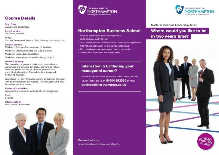 Masters of Business Leadership Leaflet