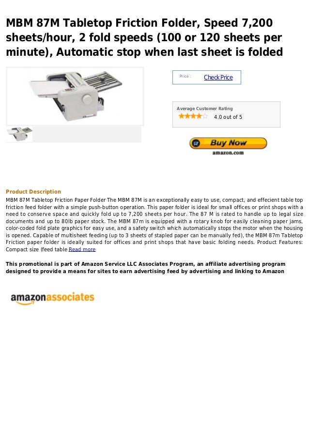 Mbm 87 m tabletop friction folder, speed 7,200 sheets hour, 2 fold speeds (100 or 120 sheets per minute