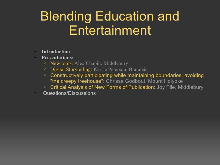 Blending Education and Entertainment <ul><ul><li>Introduction  </li></ul></ul><ul><ul><li>Presentations:  </li></ul></ul><...